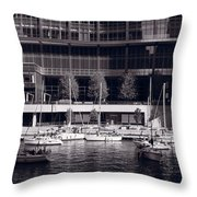 Chicago River Boats Bw Throw Pillow