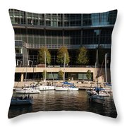 Chicago River Boats Throw Pillow