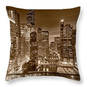 Chicago River City View B And W Throw Pillow