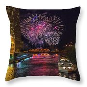 Chicago River Fireworks Throw Pillow