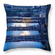 Chicago River First Light Throw Pillow