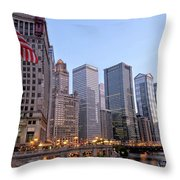 Chicago River From The Michigan Avenue Bridge Throw Pillow