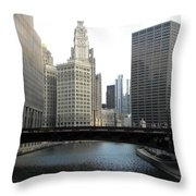 Chicago River Throw Pillow