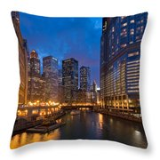 Chicago River Lights Throw Pillow