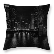Chicago River Night Skyline Throw Pillow