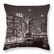 Chicago River Panorama B W Throw Pillow
