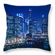 Chicago River Panorama Throw Pillow