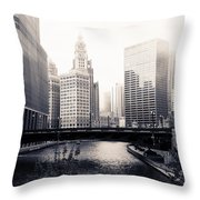 Chicago River Skyline Throw Pillow