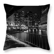 Chicago River View In Black And White  Throw Pillow