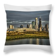 Chicago Skyline And Nature Preserve At Sunrise Throw Pillow