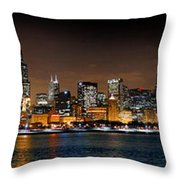 Chicago Skyline At Night Extra Wide Panorama Throw Pillow