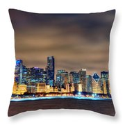 Chicago Skyline At Night Panorama Color 1 To 3 Ratio Throw Pillow