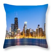 Chicago Skyline At Twilight Throw Pillow