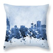 Chicago Skyline-blue 2 Throw Pillow