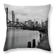 Chicago Skyline From The Southside In Black And White Throw Pillow