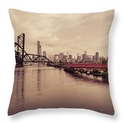 Chicago Skyline From The Southside With Red Bridge Throw Pillow
