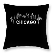 Chicago Skyline Nurse Heartbeat Apparel Throw Pillow