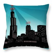 Chicago Skyline Throw Pillow by Sandra Hoefer