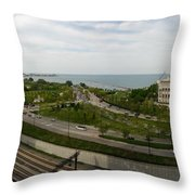 Chicago Skyline Showing Monroe Harbor Throw Pillow