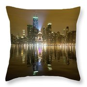 Chicago Skyline With Lindbergh Beacon On Palmolive Building Throw Pillow
