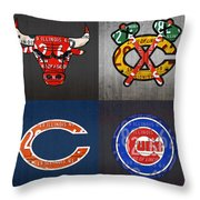 Chicago Sports Fan Recycled Vintage Illinois License Plate Art Bulls Blackhawks Bears And Cubs Throw Pillow