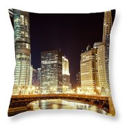 Chicago State Street Bridge At Night Throw Pillow