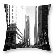 Chicago Street With Flags B-w Throw Pillow