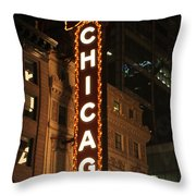 Chicago Theater At Night Throw Pillow