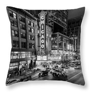 Chicago Theater In Black And White Throw Pillow