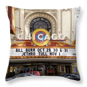Chicago Theater Marquee Jethro Tull Signage Throw Pillow