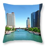 Chicago Tour Boats Parked On The River Throw Pillow