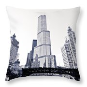 Chicago Trump Tower And Wrigley Building Throw Pillow