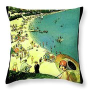 Chicago, Vacation City, Areal View On The Beach Throw Pillow