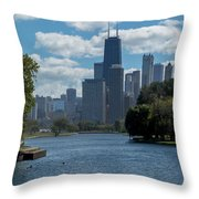 Chicago - View From Lincoln Park Lagoon Throw Pillow