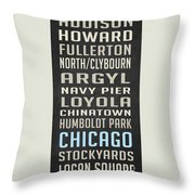 Chicago Vintage Subway Signs Throw Pillow
