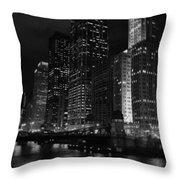 Chicago Wacker Drive Night Portrait Throw Pillow