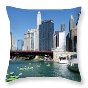 Chicago Watching The Kayaks On The River Throw Pillow