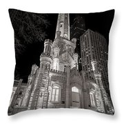 Chicago Water Tower Throw Pillow by Adam Romanowicz
