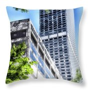 Chicago Water Tower Place Facade And Signage Throw Pillow