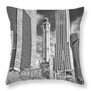 Chicago Water Tower Shopping Black And White Throw Pillow
