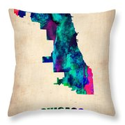 Chicago Watercolor Map Throw Pillow by Naxart Studio