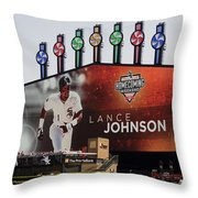 Chicago White Sox Lance Johnson Scoreboard Throw Pillow
