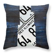 Chicago Windy City Harris Sears Tower License Plate Art Throw Pillow