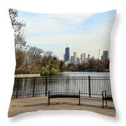 Chicago With Benches Throw Pillow