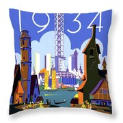 Chicago, World Fair, Vintage Travel Poster Throw Pillow