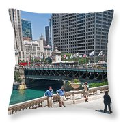 Chicago's Dusable Bridge On N. Michigan Avenue Throw Pillow