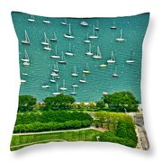 Chicago's Dusable Harbor  Throw Pillow