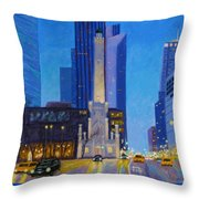 Chicago's Water Tower At Dusk Throw Pillow