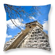 Chichen Itza And Tree Throw Pillow