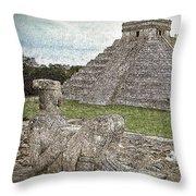 Chichen Itza Draw-like Throw Pillow